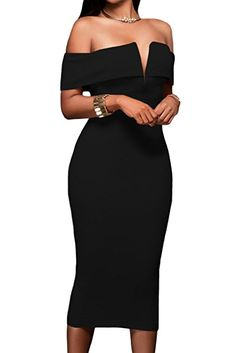 c7c6ab76891e Alvaq Womens Sexy V Neck Off The Shoulder Evening Bodycon Club Midi Dress,  Dark Blue, XX-Large: No matter the occasion, this chic dress is the answer.