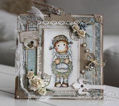 Tilda Magnolia hand stamped card