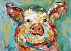 Original oil painting Pig Portrait abstract by Karensfineart