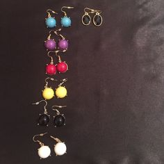 Earrings Never worn $5 a pair. Some of the colors have matching necklaces and rings. Just ask. Black ones not available. Let me know what color you choose before or after purchasing. Charming Charlie Jewelry Earrings
