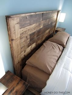 DIY Pallet Headboard - but with a shelve on top going across to put candles and/or pictures on - hubby will love this idea