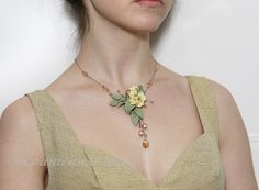 Romantic gentle ivory polymer clay floral necklace. Wedding choker with flowers. Soft colors. Olive green ivory champagne choker necklace. by JewelleryForWorld on Etsy https://www.etsy.com/listing/218331651/romantic-gentle-ivory-polymer-clay