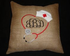 Nurse Monogramed Burlap Throw Pillow Cover Nurse Graduation Gift Machine Embroidered Grannies Embroidery
