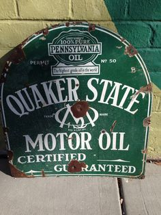 Quaker State Porcelain Tombstone sign!