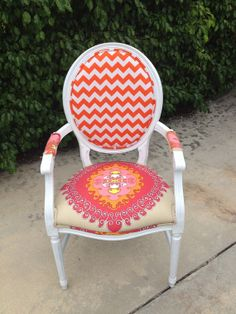 Louis XVI Chair. Trina Turk Fabric.Arm Chair.Pink.Orange.Upholstered Chair.Side Chair.Accent Chair.Desk Chair