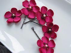 cherry blossoms bobbypins  custom set of 5 by MariaLouiseHightoo
