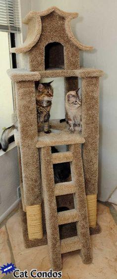 Designer Cat Pagoda Tree-Pagoda Cat Scratcher-Cat Pagoda House-Cat Condos