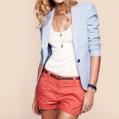 Coral shorts/skirt/jeans, with blue blazer (or jean jacket) and white tank top - great Spring/Summer colour combo for you.