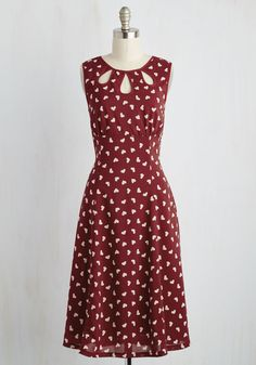 Bam it's Kam Dress - Red, White, Novelty Print, Print, Daytime Party, Valentine's, Pinup, Vintage Inspired, 50s, A-line, Sleeveless, Spring, Woven, Better, Long