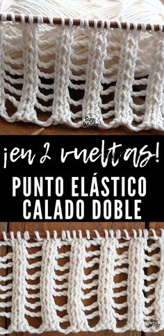 Doble punto elástico de tiro: en dos turnos - Muestrario de Puntos a dos agujas - Lace Knitting Stitches, Knitting Patterns, Craft Stick Crafts, Yarn Crafts, Lace Patterns, Stitch Patterns, Crochet Lace, Crochet Hooks, Crochet Patterns For Beginners