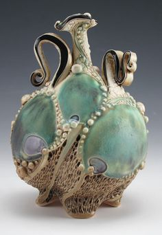 Carol Long  | Pottery             Love the flowing shapes, teal color, pearl beading...sweeeet.