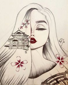 Japanese, Chinese inspired drawing from Christina Lorre