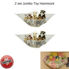 Jumbo Toy Hammock Net 2 Set Hanging Corner Stuffed Animal Storage Organizer New #NA