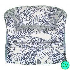 Ibis Swivel Armchair in Carleton's Big Fish Fabric