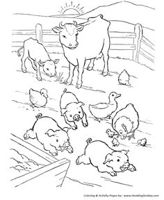 Farm Animals Coloring Pictures Awesome Farm Animal Coloring Page Barn Yard Pigs – Nutztiere Farm Animal Coloring Pages, Coloring Pages To Print, Coloring Book Pages, Printable Coloring Pages, Free Coloring, Coloring Pages For Kids, Coloring Sheets, Chicken Coloring Pages, Kids Coloring