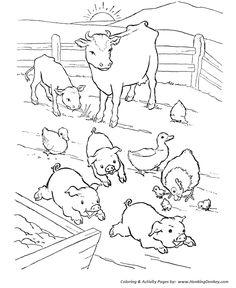 Farm Animal Coloring Pages | Free printable, Farming and Animal