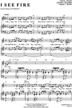 I see fire (Klavier + Gesang) Ed Sheeran [PDF Noten] >>> KLICK auf die Noten um Reinzuhören <<< Noten und Playback zum Download für verschiedene Instrumente bei notendownload Blockflöte, Querflöte, Gesang, Keyboard, Klavier, Klarinette, Saxophon, Trompete, Posaune, Violine, Violoncello, E-Bass, und andere ...
