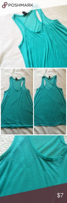 ❗️LOWEST PRICE❗️Sheer Teal Dress This dress is perfect for a day to the beach! It is pilling a bit. The flaws are shown above. 100% Polyester.  ✅BUNDLE DISCOUNTS! 🚫No trades/paypal/other apps. H&M Dresses
