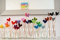 Colorful felt heart flowers : www.theMagicOnions.com