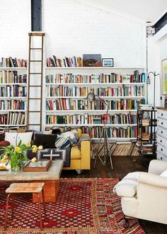 Lee Mathews and Family Home - The Design Files - Living room wall with ladder My Living Room, Home And Living, Living Spaces, Cozy Living, Living Area, Library Ladder, Cozy Library, Library Wall, Attic Library