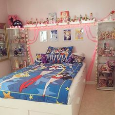 """Put up my mini posters+some satin ribbon inspired by sailor moons transformation scene """