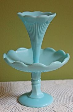 Fenton Crystal. Turquoise Milk Glass Epergne by AnythingDiscovered