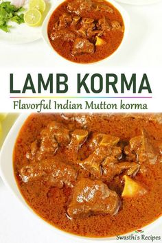 Easy mutton korma made with yogurt, whole spices and spice powders. This is a slow cooked Indian lamb korma curry that turns out delicious & the best with soft Lamb Korma Recipes, Lamb Chop Recipes, Curry Recipes, Vegetarian Recipes, Healthy Recipes, Recipes For Lamb, Paneer Korma Recipe, Chicken Korma Recipe, Goat Recipes