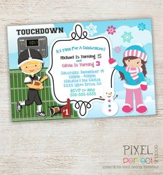 Items Similar To Sibling Birthday Invitation Twins Invitations Brother And Sister Mermaid Winter Football