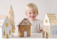 How to make a lovely little DIY Christmas play village from tissue boxes