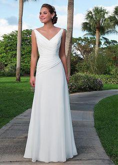 Elegant Chiffon V-neck Neckline A-line Wedding Dresses with Beadings