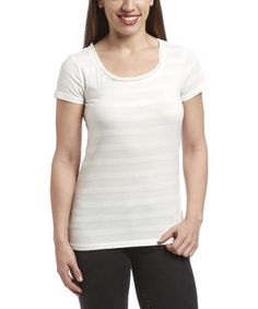Love this White Shiny-Stripe Scoop Neck Tee - Women by Appraisal on #zulily! #zulilyfinds