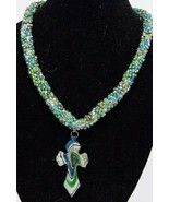 beaded blue green glass cross necklace - $14.85