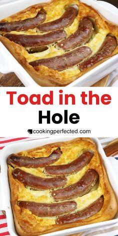 Incredibly Easy Toad in the Hole - Cooking Perfected Whole Food Recipes, Cooking Recipes, Pub Recipes, Deer Recipes, Lunch Recipes, English Food, English Recipes, British Recipes, Scottish Recipes