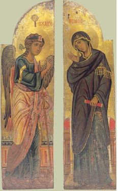 Annunciation of Our Lady. Ancient icons of Jesus Christ Byzantine Icons, Byzantine Art, Religious Icons, Religious Art, Saint Catherine's Monastery, Gospel Of Luke, Religious Paintings, Russian Icons, Best Icons