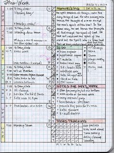 Really cool weekly journal tracking