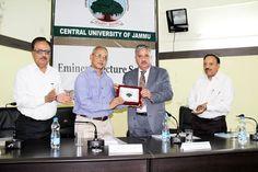 Prof Ashok Aima presenting memento to Prof Pulin B Nayak during lecture at CUJ.