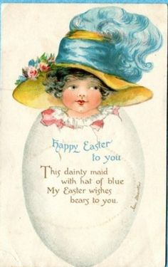 S3154 Irene Marcellus postcard, Girl in Easter Egg, Nister 3216, Used 1914 (10/10/2013)