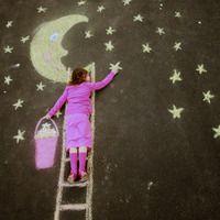 Chalk fun: hanging stars