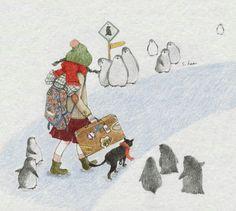 Hee girl and cat Winter Illustration, Children's Book Illustration, Belle And Boo, Korean Artist, Book Girl, Art Sketchbook, Animals For Kids, Cat Art, Illustrations Posters