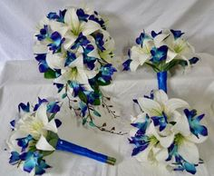 Just Fake It Bouquets Australia use top quality silk flowers and real touch artificial wedding flowers. Realistic life like artificial bridal bouquets for your wedding. Blue Orchid Bouquet, Blue Orchid Wedding, Fake Wedding Flowers, Wedding Flower Guide, Wedding Flower Packages, Silk Flower Bouquets, Flower Bouquet Wedding, Silk Flowers, Wedding Ideas