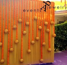 For the rectangle gate. lot of flowers and dangly golden glittery thermocol balls. House Party Decorations, Wedding Stage Decorations, Backdrop Decorations, Diwali Decorations, Flower Decorations, Backdrops, Dance Decorations, Background Decoration, Ganapati Decoration