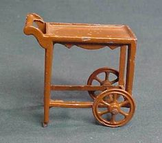 Vintage Tootsie Toy Brown Doll House Furniture Tea Cart #TootsieToy