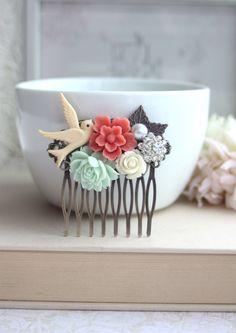 Flower Collage Hair Comb. Coral Sakura Flower Mint by Marolsha, $27.00