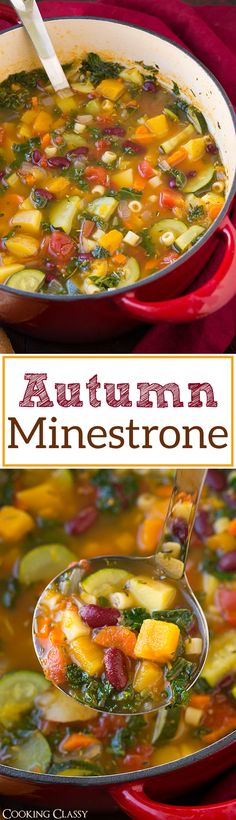 Autumn Minestrone Soup - would not add beans. If you add potatoes do not add pasta. Would add spinach instead of kale. healthy and delicious! (Holiday cooking recipes, sides, vegetables, veggies, Thanksgiving, Christmas food)