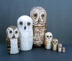 Nesting Doll Owls Set of 7 Creatures of Twilight by SavageArtworks