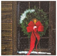 New Country Rustic Log Cabin CHRISTMAS WREATH CANDLE WINDOW Lighted Picture  #BatteryOperatedReadyToHang