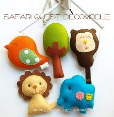 SAFARI QUEST V1 Baby Mobile (Artist Choice Colors) - Modern Wool Felt Mobile for the Nursery and Baby Crib