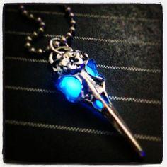 Blue Glow in The Dark Silver Tone Bird Skull Pendant On Ball Chain by GeekFreakBoutique, $14.50