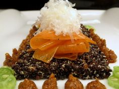 Red Quinoa salad - carrots - pecorino shavings - Miso   II Red Quinoa Salad, I Love Food, I Foods, Catering, Carrots, Beef, Fresh, Cage, Events