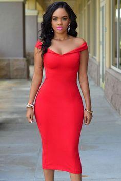 Red Off-the-shoulder Bodycon Midi Dress